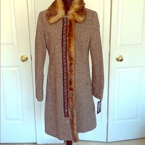 Black Rivet Brown Tweed Coat faux fur collar/trim